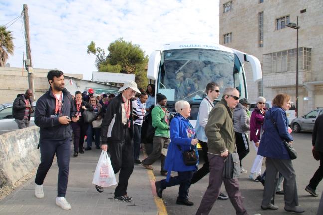 Pilgrims arrive at Pater Nostra